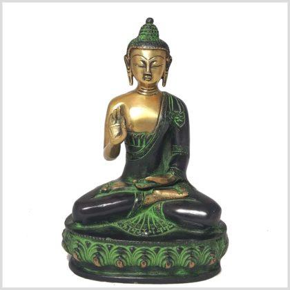 Lehrender Buddha Messing grüngold Vorne