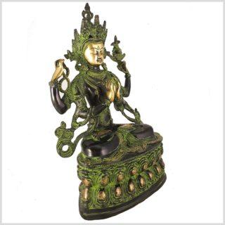 Avalokiteshvara 36cm Messing grüngold Seitenansicht Links