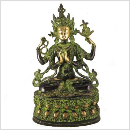 Avalokiteshvara 36cm Messing grüngold Vorderansicht