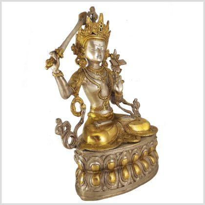 Manjushri Monju Messing Silber 36cm Seitenansicht
