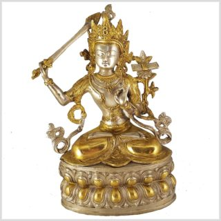 Manjushri Monju Messing Silber 36cm Vorderansicht