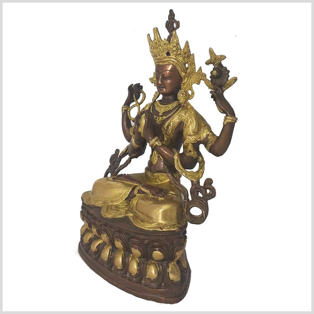 Weiße Tara Sitatara 37cm 3,7kg Messing Buddha Avalokiteshvara Manjushri Chen
