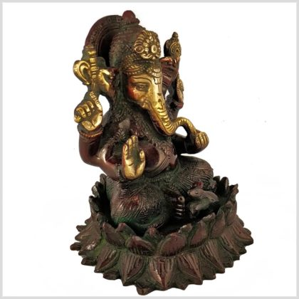 Ganesha Lotus Messing Rotgrün Seitenansicht
