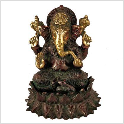 Ganesha Lotus Messing Rotgrün Vorderansicht