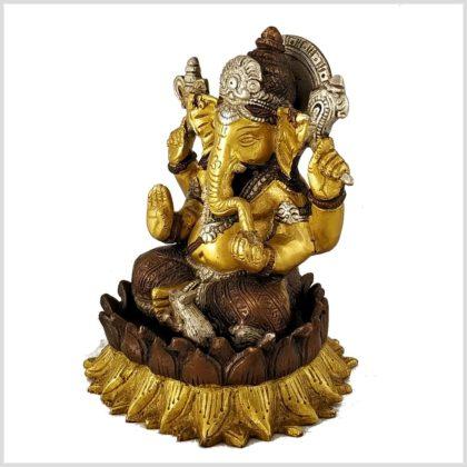 Ganesha Lotus Messing Tricoloure Seitenansicht