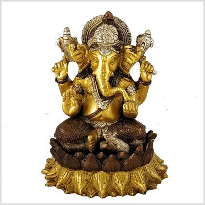 Ganesha Lotus Messing Tricoloure Vorderansicht