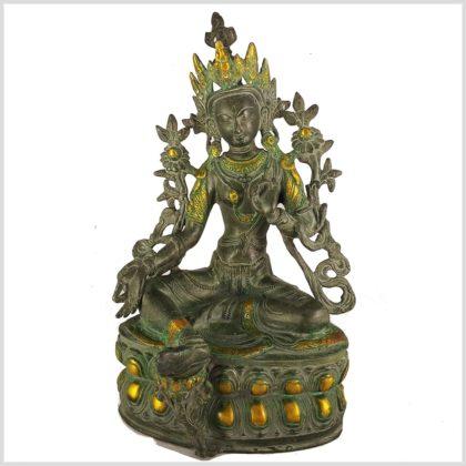 Grüne Tara 36cm Messing Nepalgrüngold Antik Vorderansicht