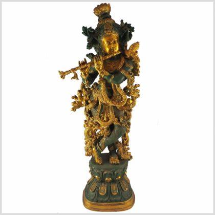 Krishna stehend 20kg Messing nepalgrün Vorderansicht