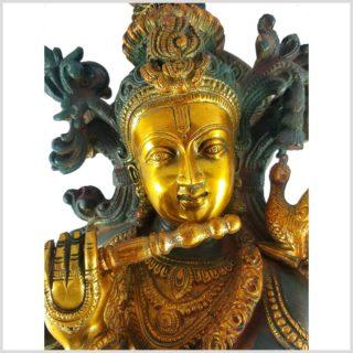 Krishna stehend 20kg Messing nepalgrün Flöte