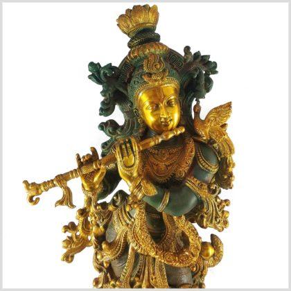 Krishna stehend 20kg Messing nepalgrün Gesicht