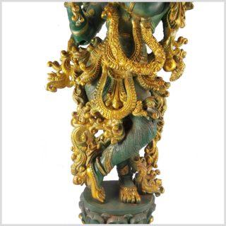 Krishna stehend 20kg Messing nepalgrün Körper