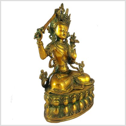 Manjushri 36cm Messing Goldgrün Seitenansicht rechts
