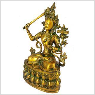 Manjushri 36cm Messing Goldgrün Seitenansicht