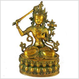 Manjushri 36cm Messing Goldgrün Vorderansicht