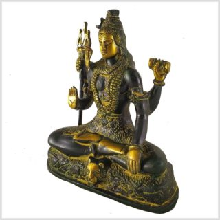 Shiva sitzend aus Messing Seite