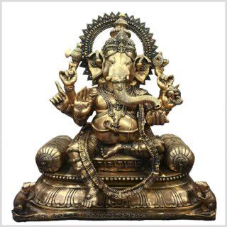 Ganesha auf Thron Messing Vorderansicht