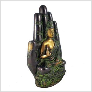 Buddhahand Messing grüngold Seitenansicht