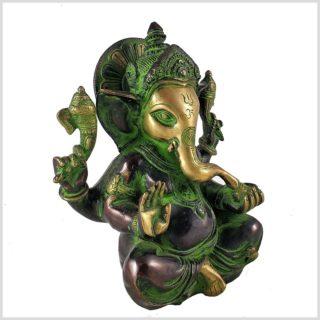 Ganesha 3kg Messing grüngold Seite Rechts