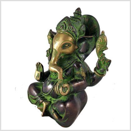 Ganesha 3kg Messing grüngold Seitenansicht