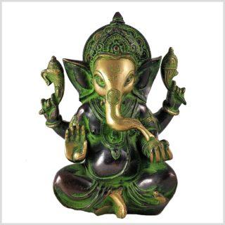 Ganesha 3kg Messing grüngold Vorderansicht