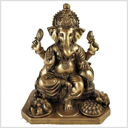 Sitzender Ganesha 5,8kg Messing Vorderseite