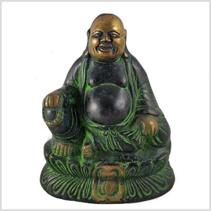 Lachender Buddha 1,5kg grüngold Vorderansicht