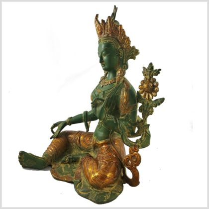 Grüne Tara 7,5kg Messing antikgrün Seitenansicht