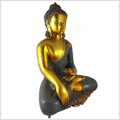 Erdender Buddha Kundal Messing graugold Seite Links