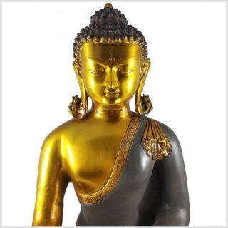 Erdender Buddha Kundal Messing graugold Gesicht