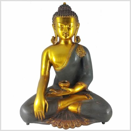 Erdender Buddha Kundal Messing graugold Vollansicht