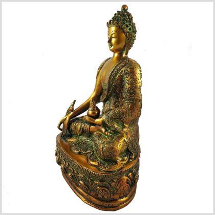 Medizinbuddha 33cm braungrün Seitenansicht