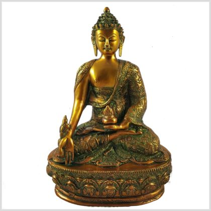 Medizinbuddha 33cm braungrün Vorderansicht