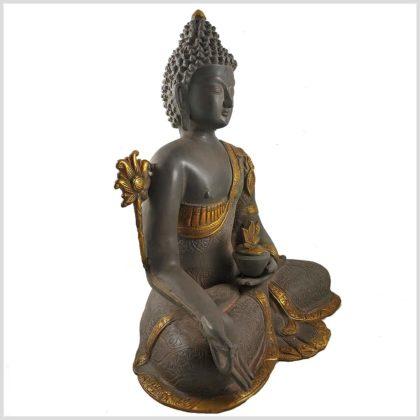 Medizinbuddha nepalgrau 44cm Seitenansicht