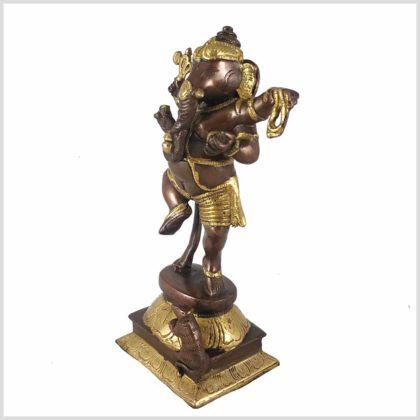 Ganesha stehend Messing Kupfer Seitenansicht