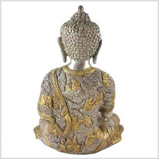 Lehrender Buddha 6kg Messing Silber Hinten