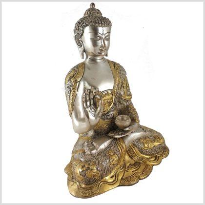 Lehrender Buddha 6kg Messing Silber Seitenansicht Rechts
