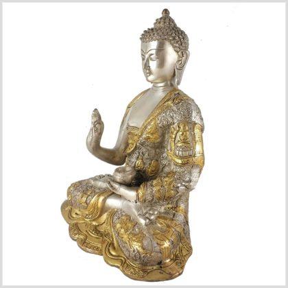 Lehrender Buddha 6kg Messing Silber Seitenansicht