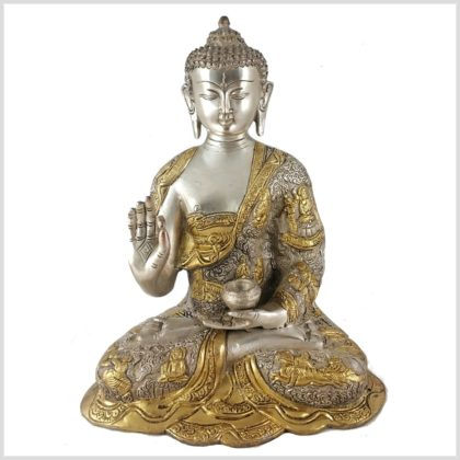 Lehrender Buddha 6kg Messing Silber Vorderansicht