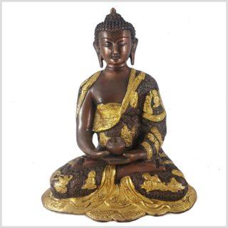 Erleuchteter Buddha 6kg Messing Kupfer Vorderansicht