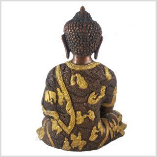 Erleuchteter Buddha 6kg Messing Kupfer Hinten
