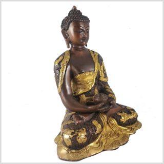 Erleuchteter Buddha 29,5cm Messing verkupfert Seitenansicht rechts