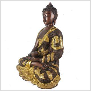 Erleuchteter Buddha 6kg Messing Kupfer Seitenansicht Links