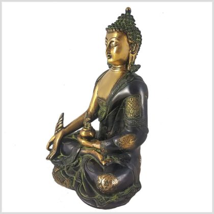 Medizinbuddha 2,8kg Asthamangala grüngold Seitenansicht Links