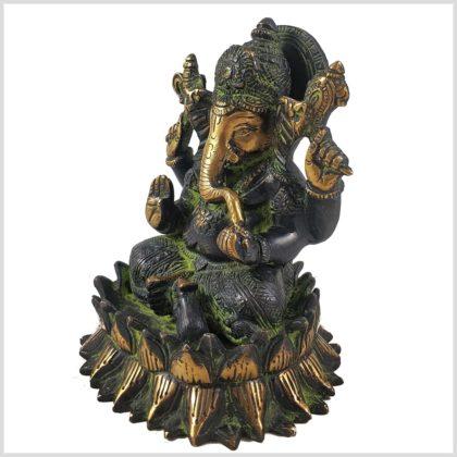 Ganesha Lotus schwarzgrün Seitenansicht Links