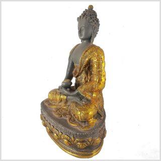 Erleuchteter Buddha 33cm graugold Seitenansicht Links