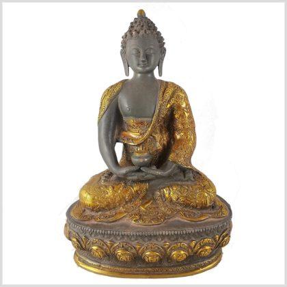 Erleuchteter Buddha 33cm graugold Vorderansicht