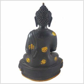 Erleuchteter Buddha 32cm schwarzgold Hinten