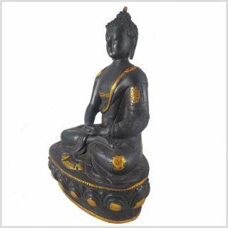 Erleuchteter Buddha 32cm schwarzgold Seite Links