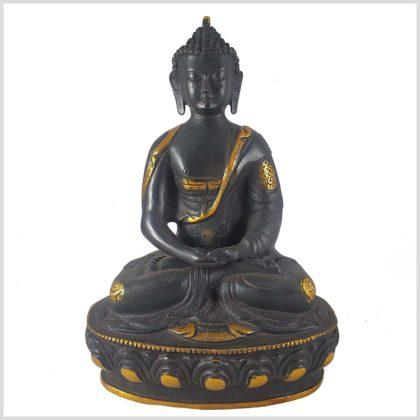 Erleuchteter Buddha 32cm schwarzgold Vorderansicht