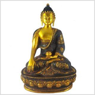 Erdender Buddha braungold 33cm Vorderansicht